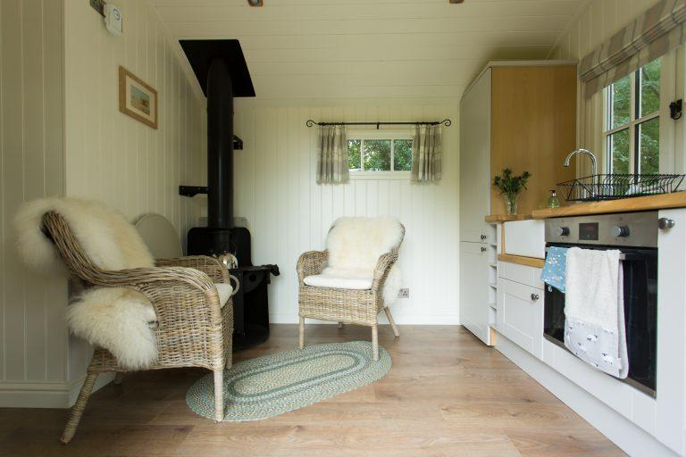 Inside the bailey shepherd hut