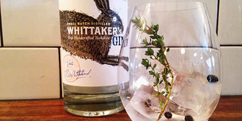 Whittaker's Gin served with sprig of thyme