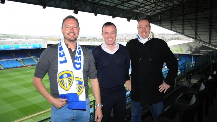Left to Right Noel Whelan, Angus Kinnear Leeds Utd CEO, Adam Pope